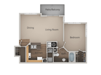1 Bedroom 1 Bathroom Floor Plan at PinehurstApartments, Midvale, 84047, opens a dialog
