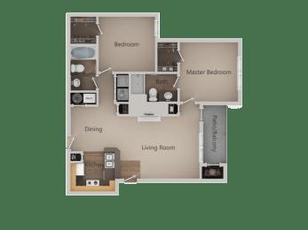 2 Bedroom 2 Bathroom Floor Plan at PinehurstApartments, Midvale