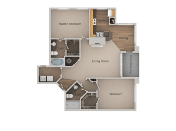 2 bedroom 2 bath Floor Plan at PinehurstApartments, Midvale, UT, opens a dialog