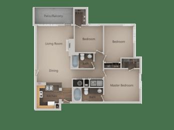 3 bedroom 2 bath Floor Plan at PinehurstApartments, Midvale, Utah