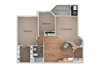 Two Bed One Bath Floor Plan at Falls at Hunters Pointe Apartments, Utah, 84070