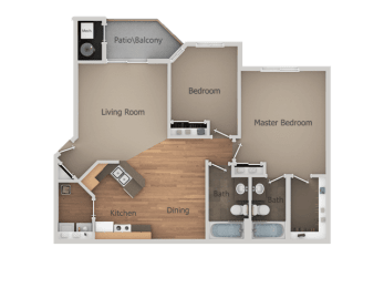 Two Bed Two Bath Floor Plan at Falls at Hunters Pointe Apartments, Sandy, UT, 84070