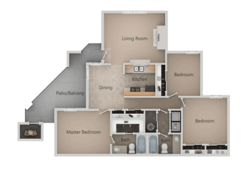 2 Bedroom 2 Bathroom Floor Plan at Promontory PointApartments, Sandy, UT, 84094