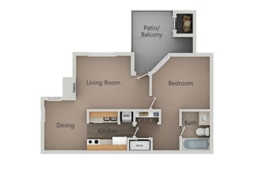 1 Bed 1 Bath Floor Plan at Broadmoor Village Apartments, West Jordan, 84088