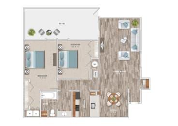 Floor Plan Two Bedroom Patio