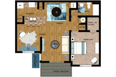 Floor Plan One Bedroom One Bath - Large, opens a dialog