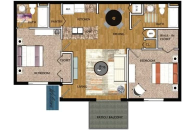 Floor Plan Two Bedroom Two Bath, opens a dialog