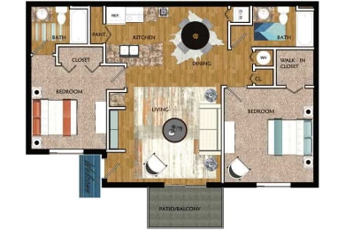 Floor Plan Two Bedroom Two Bath - Large