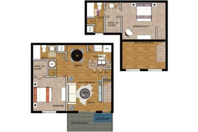 Floor Plan Two Bedroom Two Bath - Townhome