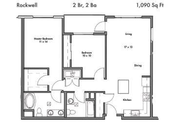 2 Bedroom 2 Bathroom Floor Plan at Discovery West, Washington