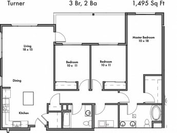 3 Bed, 2 Bath Floor Plan at Discovery West, Issaquah