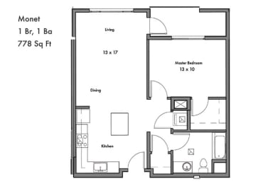 1 Bedroom 1 Bathroom Floor Plan at Discovery West, Issaquah, WA