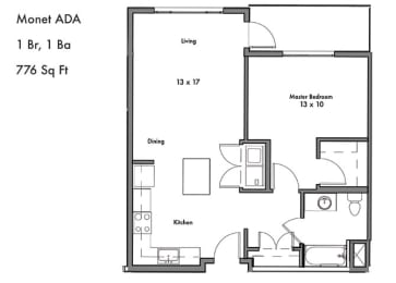 One Bed One Bath Floor Plan at Discovery West, Issaquah, 98029