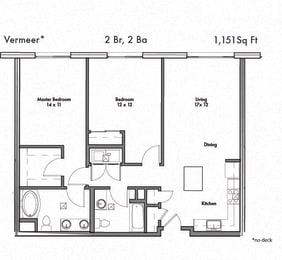 Two bedroom Two bathroom Floor Plan at Discovery West, Issaquah, 98029