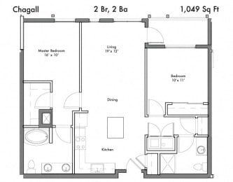 2 Bed 2 Bath Floor Plan at Discovery West, Washington, 98029