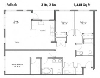 3 Bed, 2 Bath Floor Plan at Discovery West, Issaquah, Washington