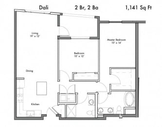 2 Bedroom 2 Bathroom Floor Plan at Discovery West, Issaquah