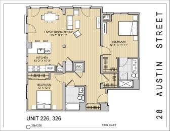 2 Bed 2 Bath 28b1236 Floor Plan at 28 Austin St, Massachusetts, 02460