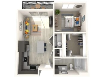 A1 Floor Plan at Paradise @ P83 Apartments, P.B. BELL Assets, Peoria