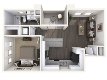 A2 630 SqFt Floor Plan at The Premiere at Eastmark  Apartments, P.B. BELL, Arizona