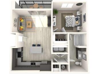 A3 Floor Plan at Paradise @ P83 Apartments, P.B. BELL Assets, Peoria, Arizona