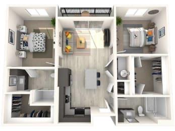 B2 Floor Plan at Paradise @ P83 Apartments, P.B. BELL Assets, Arizona, 85382