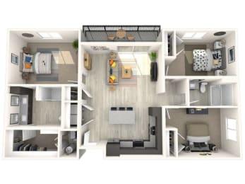 C2 Floor Plan at Paradise @ P83 Apartments, P.B. BELL Assets, Arizona, 85382