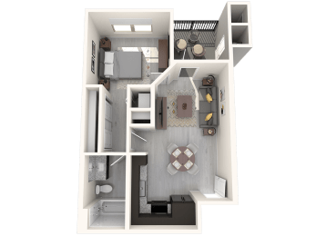 A1 592 SqFt Floor Plan at The Premiere at Eastmark  Apartments, P.B. BELL, Mesa