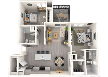 B-1 Floor Plan at Grayson Place Apartments, Goodyear, Arizona