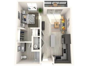 S-1 Studio Floor Plan at Paradise @ P83 Apartments, P.B. BELL Assets, Peoria, Arizona