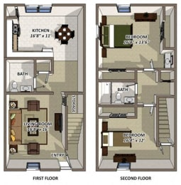 The York floor plan at Hyde Park Townhomes and Apartments in Chester