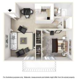 Millstream Floor Plan at Tates Creek Village Apartments in Lexington KY