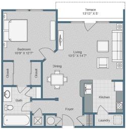 1 Bedroom 1 Bathroom Floor Plan at Sterling Magnolia Apartments, North Carolina