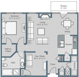 1 Bedroom and 1 Bath with Den Floor Plan at Sterling Magnolia Apartments, Charlotte