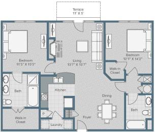 2 bedroom 2 bath Floor Plan at Sterling Magnolia Apartments, North Carolina