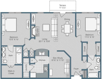 2 Bedroom and 2 Bath with Den Floor Plan at Sterling Magnolia Apartments, Charlotte, 28211