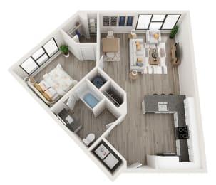 A4 Floor Plan at Link Apartments® Montford, Charlotte, North Carolina