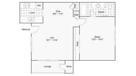 One Bedroom A1 Floor Plan