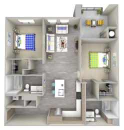tide pool b1.1 Floor Plan at Las Positas Apartments, Camarillo