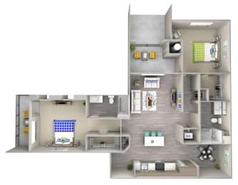 long board b4 Floor Plan at Las Positas Apartments, Camarillo, 93010