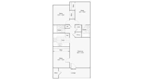 Three Bedroom C1 Floor Plan at The District