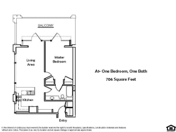 A1 B 1 Bed 1 Bath Floorplan at Pacific Place, Daly City, CA