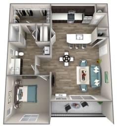 1 bed 1 bath Gala Floor Plan at Hearth Apartment Homes, Vancouver, WA, 98684