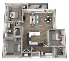 3 bedroom 2 bath Jonagold Floor Plan at Hearth Apartment Homes, Washington