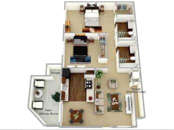 b2 floor plan at Waterleaf Apartment Homes, CA 92083
