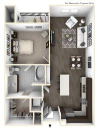 One Bedroom One Bath Floorplan