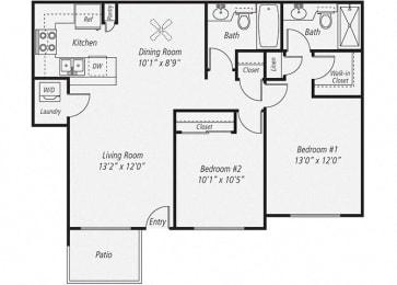 Two Bedroom/Two Bath Floor plan, at Park Pointe, El Cajon, California