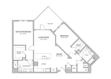 2 Bedroom - b12 Floor Plan at AVE Blue Bell, Blue Bell, 19422