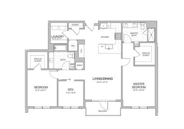 2 Bedroom - b19d Floor Plan at AVE Blue Bell, Blue Bell, Pennsylvania