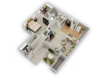 1 Bed 1 Bath Floor Plan at Farmington Lakes Apartments, Oswego, IL